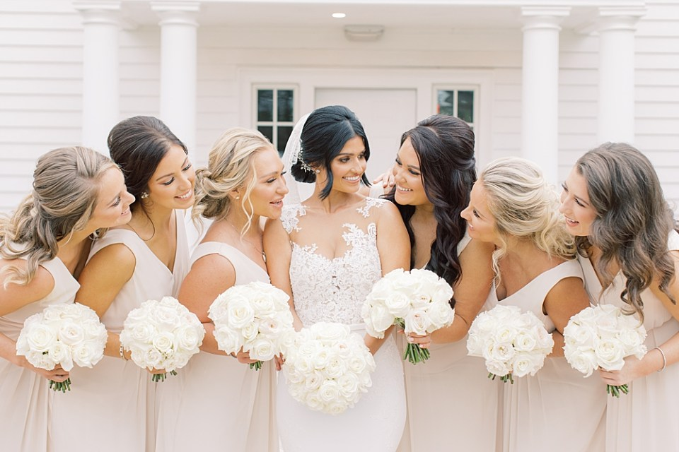 neutral bridesmaid dresses | ryland inn wedding | sarah canning photography