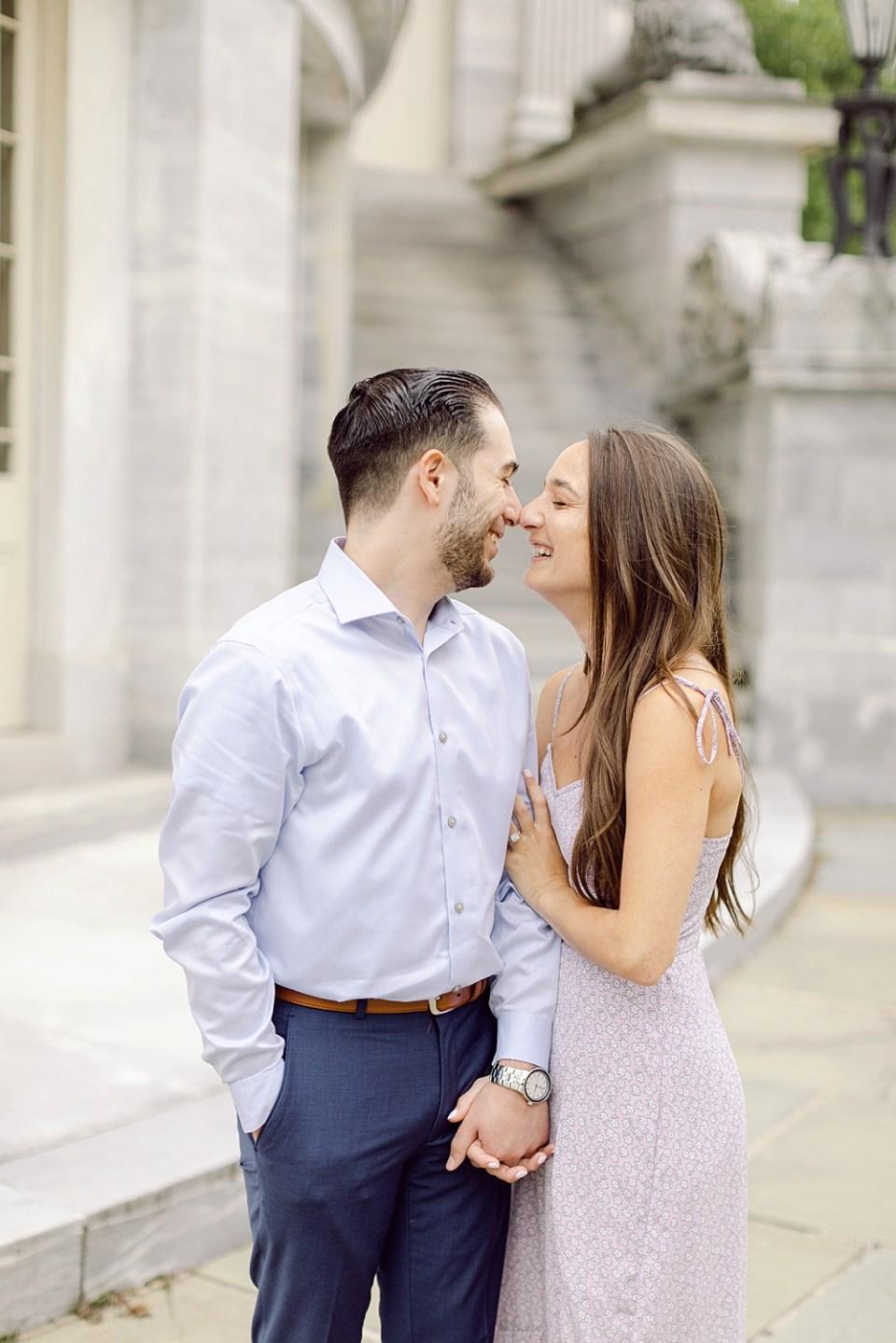 Engagement Photos in Old City Philadelphia at Merchant's Exchange Building