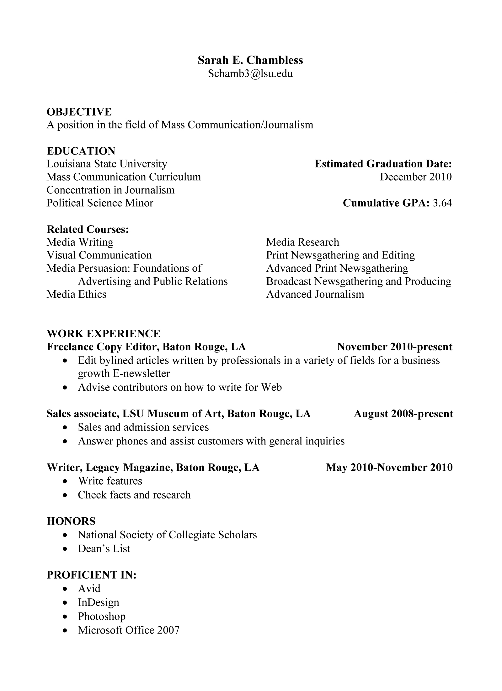 College Freshman Sample Resume With No Work Experience
