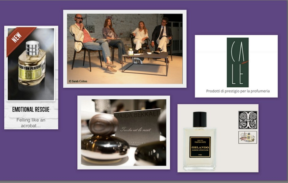"""Panelists on Silvio Levi's discussion at Pitti Fragranze, entitled """"Partita A Tre"""" (Match With 3 Players). Left to Right: Mark Buxton, Perfumer and Owner of Mark Buxton Perfumes, Majda Bekkali, Owner of Majda Bekkali Sculptures Olfactives, Anaïs Biguine, perfumer and owner of Jardins d'Ecrivains, and Silvio Levi owner of Calé Fragranze d'Autore."""