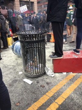 Burned out trashcan in Franklin Square.
