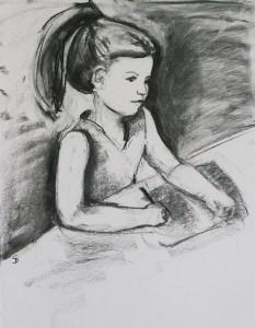 A child portrait charcoal sketch