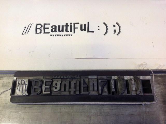 beautiful letterpress test print