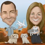 Commission caricature for Outside the Box Studio owners and artists, Kevin & Jennifer Box.