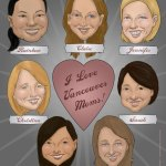 "Caricature done for group of mom friends in Vancouver. The ""I Love Lucy"" heart theme reflects the spirit of the group."