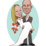 Here's a studio caricature I did for a couple who wanted to have a unique way to record their guests' signatures. It was printed out poster size with a lot of space around it for the wedding guests. The bride requested coral orange rose and white hyacinth bouquet, and for me to draw her dress as well.