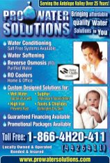 Pro Water Solutions quarter page ad