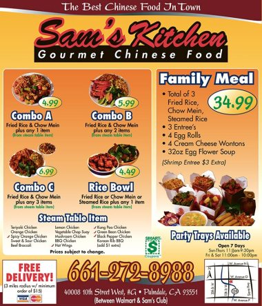 Sam's Kitchen full page ad