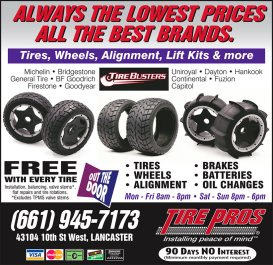 Tire Pros three-quarter page ad