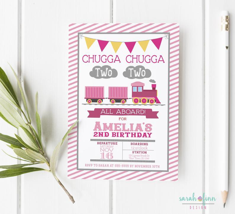 girl chugga chugga two two train second birthday invitation