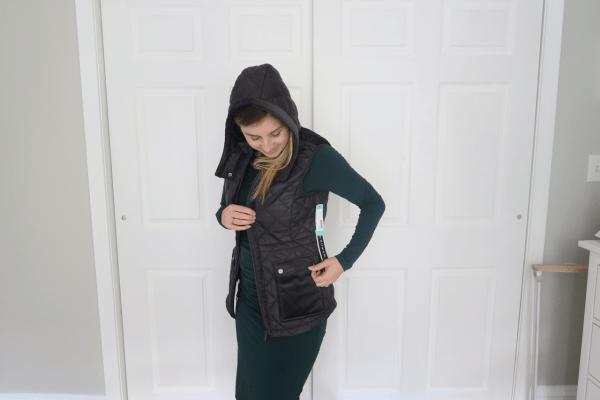 Stitch Fix Maternity Winter 2018 velvet vest black