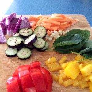 The more colours the better! Vegies for the omelette.
