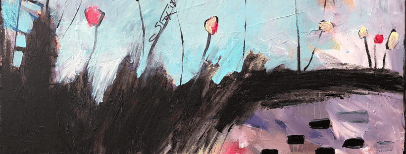 Poppies in the Poplar Garden new abstract expressionism emerging artist sarah fox