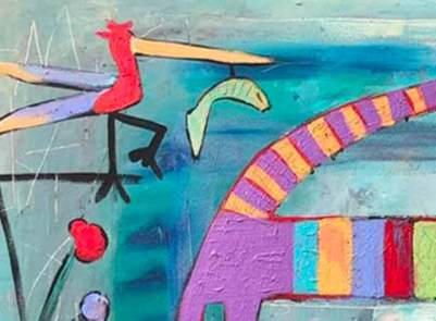 giraffe in bird garden detail 1 - this is an contemporary abstract expresssionism markmaking detail