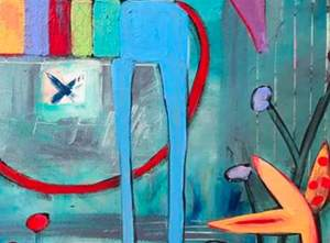 This is detail three - a contemporary abstract expressionism markmaking detail of an x marks the spot and two blue animal legs with a red tail.