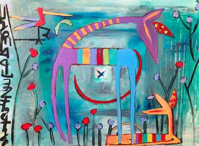 giraffe in bird garden - this is an contemporary abstract expresssionism markmaking painting with X as the center detail