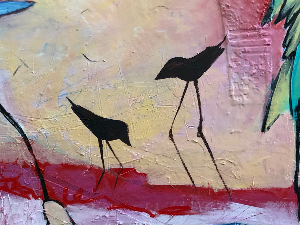 inspired by Edisto Island and its diversified wildlife and beautiful birds, this is a photo of an abstract figurative expressionism figurative fine artwork with mark making and mixed media by artist Sarah Gilbert Fox inspired by Edisto Island detail