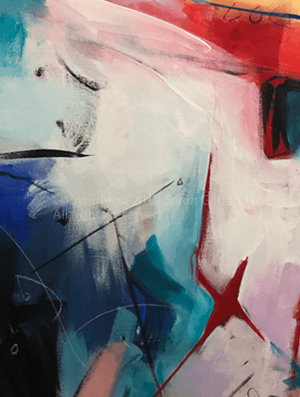 This is a detail - x marks the spot - in the painting Morning in Alphabet City Manhattan New York contemporary abstract fine art painting by Sarah Gilbert Fox