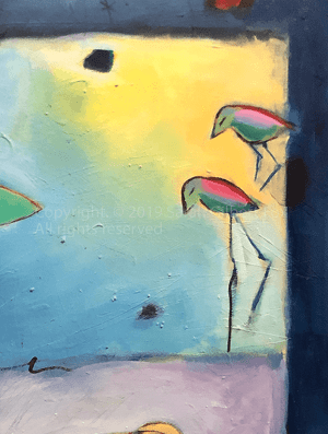 Detail 1 Edisto Island Painted Buntings contemporary abstract figurative expressionism fine art sarah gilbert fox