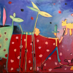 A painting inspired by Edisto Island, SC - a unique abstract expressionism, fine art abstract, original abstract figurative expressionism, by Sarah Gilbert Fox