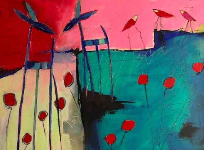 the birdie garden is a contemporary abstract figurative expressionism fine art painting by emerging artist sarah gilbert fox
