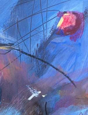 Morning in Riverside Park Manhattan New York contemporary abstract fine art painting by Sarah Gilbert Fox detail 2
