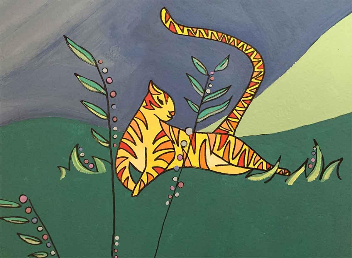 Wall Mural jungle theme with giraffes zebras lions tigers elephants leopards gazelles for children's playroom nurseries or vacation homes art copyright © 2020 Sarah Gilbert Fox