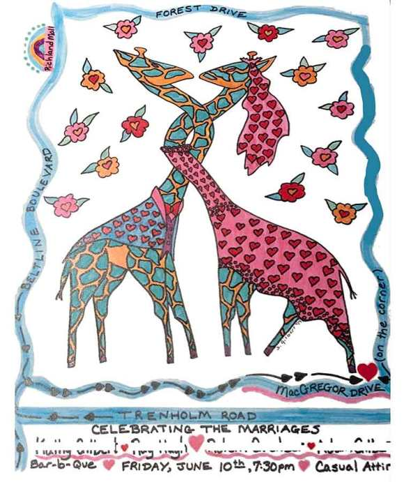 unique, original, wedding invitation celebration graphic illustration with giraffes and hearts and flowers