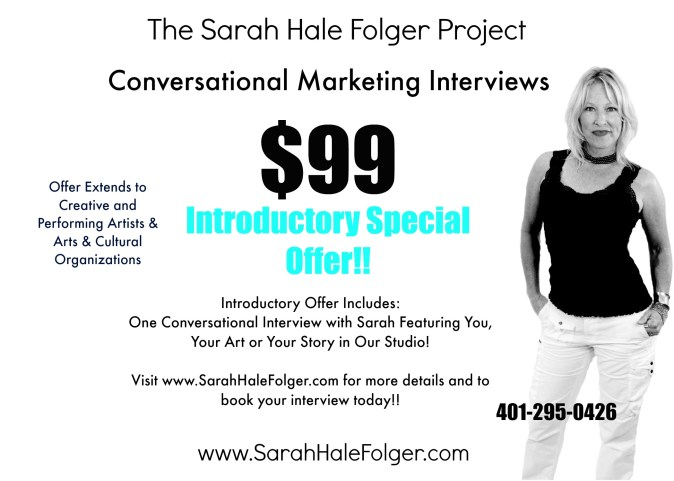 Sarah Hale Folger special - Interview opportunity for Creative & Performing Artists'! See how!