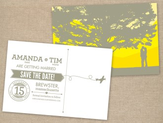 Typographic gray and yellow wedding save the date postcard