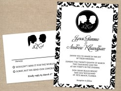 Silhouette wedding invitation and RSVP card