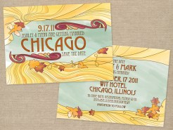 Art Nouveau inspired wedding save the date card