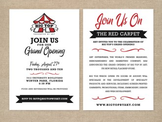 Big Top by AKT grand opening party invitation