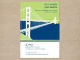 Navy and lime San Francisco wedding invitation