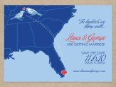 Map wedding save the date card