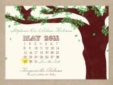 Vintage tree calendar wedding save the date card