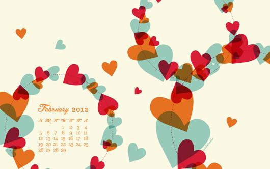 February 2012 Desktop, iPhone & iPad Calendar Wallpaper