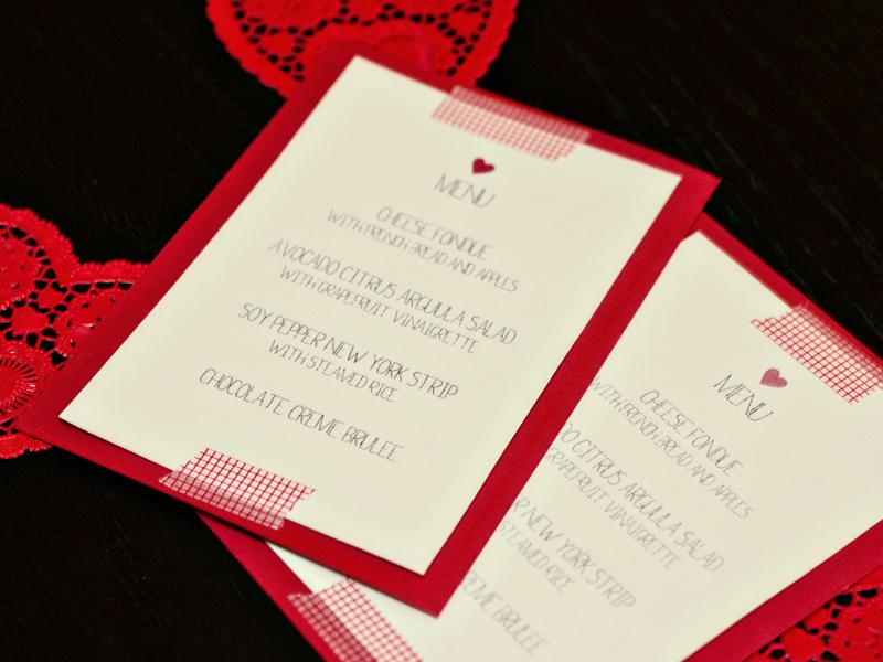 free valentines day menu