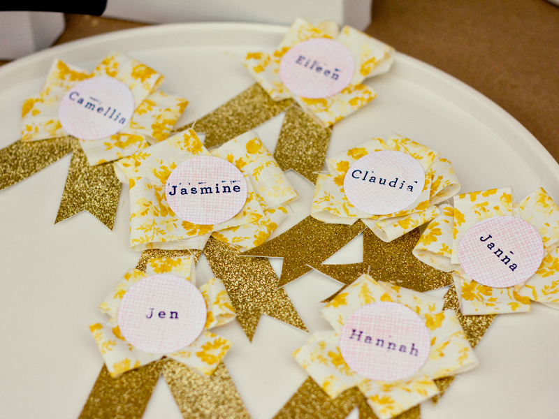diy ribbon glitter name tags