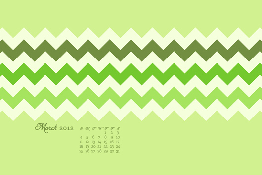 free march calendar green chevron wallpaper
