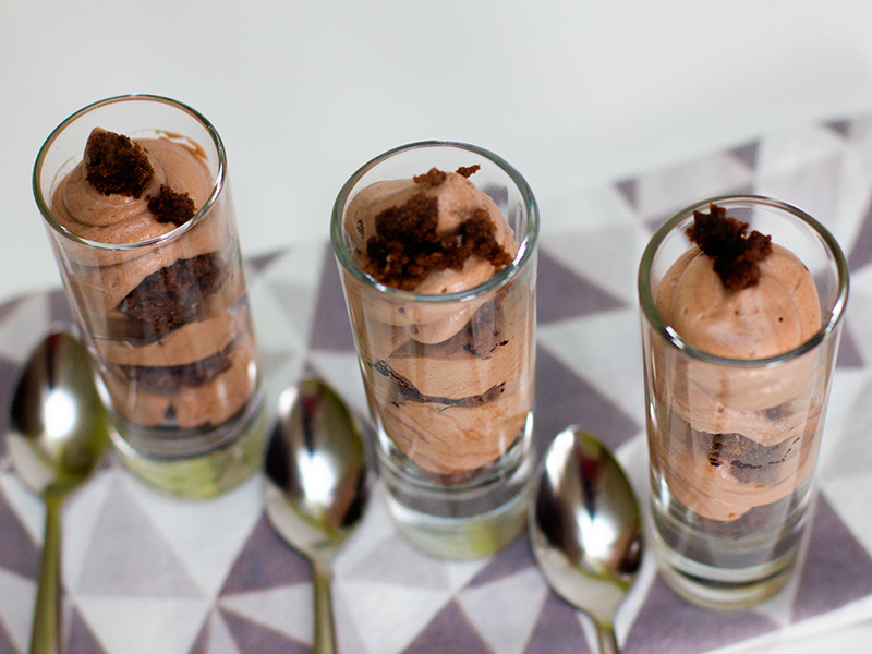 Chocolate Mousse and Brownie Shot Glass Dessert by Sarah Hearts