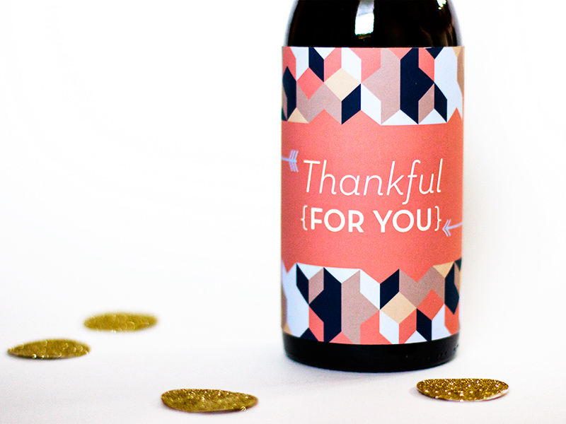 Printable Thanksgiving Wine Gift Label from Sarah Hearts