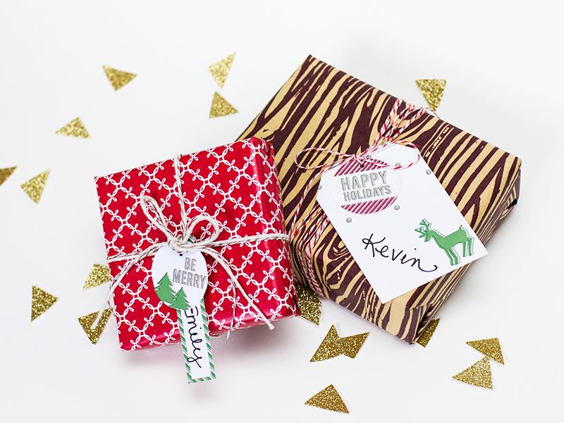 Printable Holiday Gift Tags by Sarah Hearts for blog.vivint.com #letsneighbor