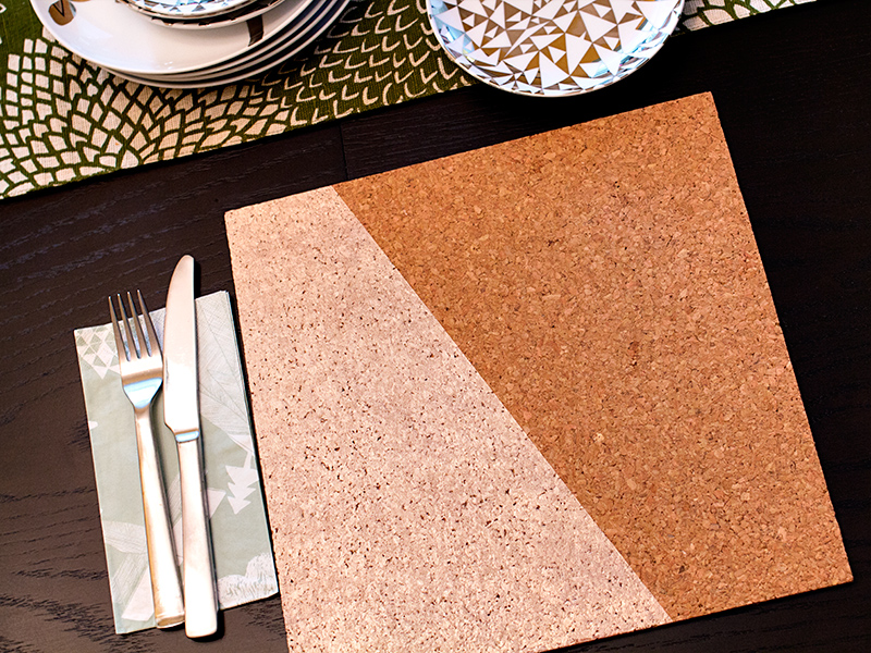 DIY Rose Gold Painted Cork Placemats by Sarah Hearts