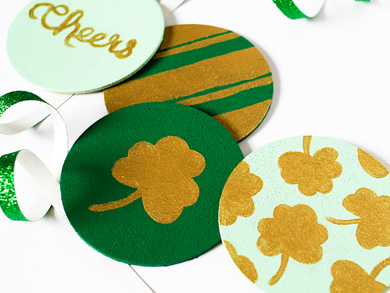 Sarah Hearts | DIY St. Patrick's Day Painted Cork Coasters