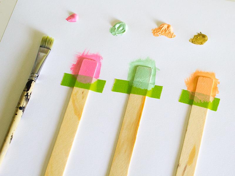 DIY Color Blocked Garden Markers | Sarah Hearts