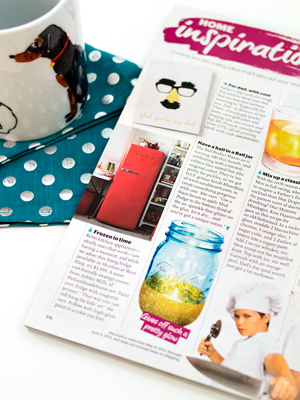 Blue Anniversary Ball Mason Jar Glitter Votives | Sarah Hearts for Redbook Magazine