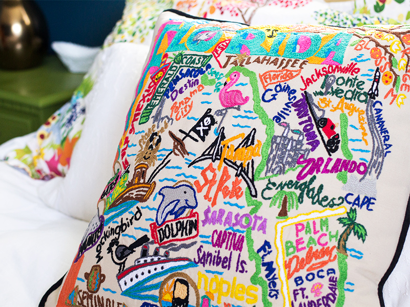 Hand Embroidered State Pillows | Sarah Hearts