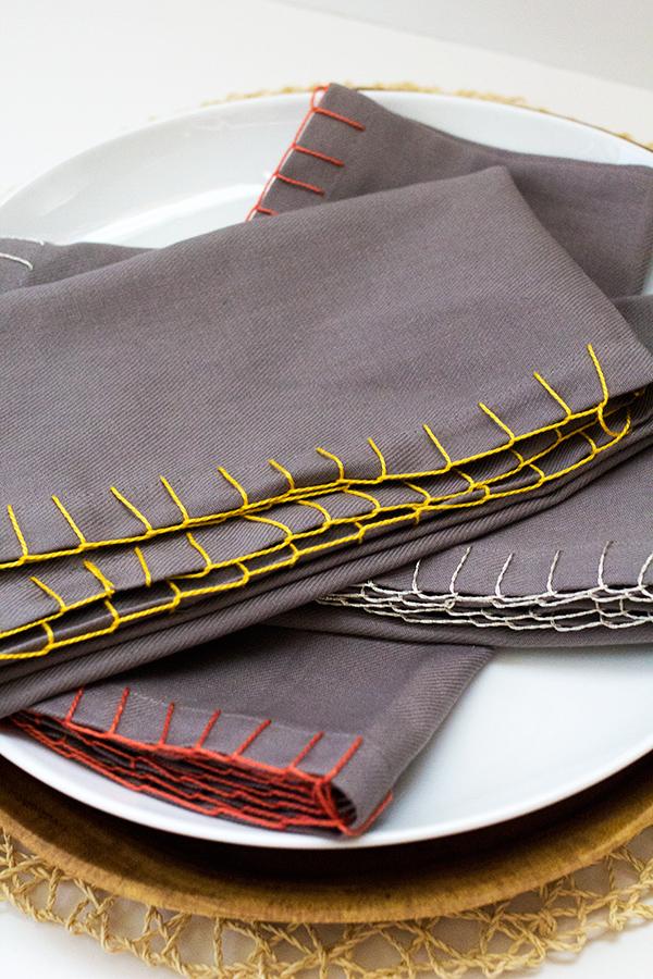 DIY Blanket Stitched Cloth Napkins   Sarah Hearts