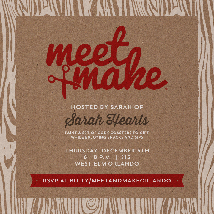 Meet + Make | Holiday Workshop Hosted by Sarah Hearts at West Elm Orlando